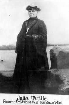 """Julia Tuttle (1849-1898) owned much of the land which was eventually to become the city of Miami. She convinced Henry Flagler to extend his railroads to the Miami River, a project that was completed in 1896. Tuttle is often referred to as the """"Mother of Miami""""."""