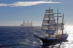 "German sailing ship ""Alexander Von Humboldt II"" (L) sails close to Russian sailing ship ""Mir"" (R) during a parade for the Mediterranean Tall Ships regatta in Toulon. Some 37 tall ships have gathered for the competition which ended in a parade in the bay of Toulon. Photograph: Jean-Paul Pelissier/Reuters"