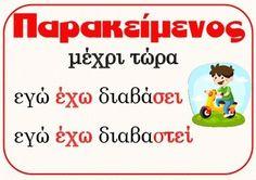 Verb Tenses (xroinoi rimaton) by PrwtoKoudouni Grammar Posters, Learn Greek, Verb Tenses, Greek Language, Special Needs Kids, Dyslexia, Kids Corner, Home Schooling, Raising Kids