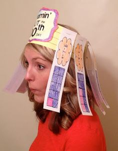 100th Day of school Ten Frame party hat. Students find 10 different ways of making 10.