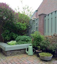 Onze eigen tuin, voorjaar 2015, het hoekje op het terras
