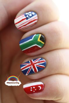 "Olympic nail art #3!  Via nailarthisorian:  ""manicurity: Olympic Opening Ceremony mani featuring flags!"""
