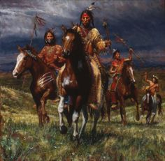 """""""War Party Rides"""" by James Ayers [Features Lakota warriors moving with a purpose.]"""