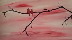 Red Love Birds Acrylic on Canvas by BrushstrokesbyMeggen on Etsy, $40.00