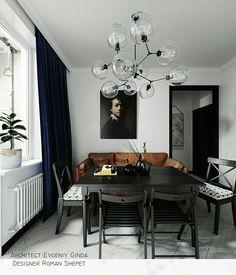 Monochrome - Interior / Image Via Behance #diningideas #diningroom #interior #interiordesign #home #decor #inspiration #interieurstyling