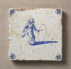 藍絵天使図タイル〈あいえてんしずたいる〉<br> デルフト オランダ 17世紀<br> 12.5 x 12.8 cm