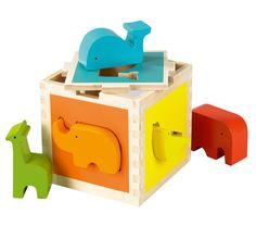 Zoo - Een geweldige, grote houten vormenkubus met 5 dierentuin dieren. De dieren zijn 3,5 cm dik en gemakkelijk vast te houden.  Deze vormenkubus is goed voor de motoriek en voor de kleurherkenning.  De dieren zijn los ook een leuke kinderkamer decoratie.