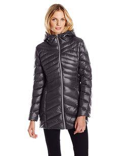 Jessica Simpson Women's Chevron Packable Down Jacket, Black, X-Small