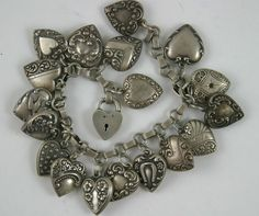 Fantastic Old Vintage Silver Heart Charm Bracelet Repousee Walter LAMPL 1940's