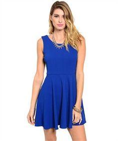 Womens Sleeveless Royal Blue V-Back Dress - Keffeler Kreations | HilltopBoutique.com