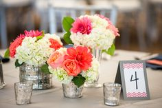 white and coral hydrangea centerpieces dusty miller | ... vases white hydrangeas coral roses garden roses and coral dahlias