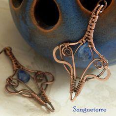 Mmirizu * rainy earrings  kyanite, copper  * wire wrap * wirewrapping * wire artisan * handmade * wire * work * wirewrapped * wired