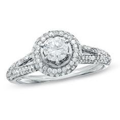 5/8 CT. T.W. Diamond Split Shank Frame Engagement Ring in 10K White Gold