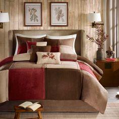 Beautiful Ultra Soft Cozy Modern Brown Taupe Log Cabin Red Beige Comforter Set | eBay