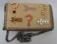 Stella McCartney Embellished Falabella Crossbody Mini Shoulder Bag Creme Beige $415
