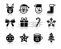 Christmas black icons with shadow set - santa, present, tree