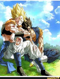 black hair blonde hair blood bloody clothes blue sky boots bruise cloud day dougi dragon ball dragonball z earrings gloves gogeta grass green eyes highres indian style injury jewelry kim yura (goddess mechanic) male focus multiple boys muscle potara Dragon Ball Gt, Dragon Ball Image, Anime Body, Manga Anime, Anime Art, Goku E Vegeta, Son Goku, Poster Superman, Gogeta E Vegito