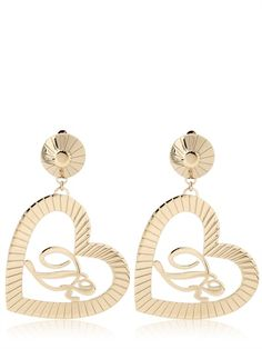 DSQUARED - HEART AND LOGO BRASS EARRINGS
