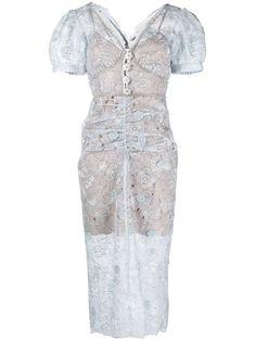 Self-Portrait Robe à Fleurs En Dentelle - Farfetch Blue Dresses, Formal Dresses, Wedding Dresses, Engagement Outfits, Portrait, Mid Length, Floral, Dress Up, Women Wear