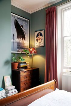 London flat of Luke Edward Hall and Duncan Campbell on HOUSE Walls in Oval Room Blue by Farrow & Ball Bedroom Furniture Sets, Home Decor Bedroom, Furniture Ideas, Bedroom Themes, Furniture Stores, Bedroom Alcove, Bedroom Suites, Furniture Outlet, Cheap Furniture