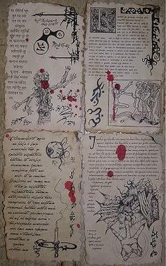 Necronomicon spellbook pages prop for Cthulhu LARP (set no. 6)