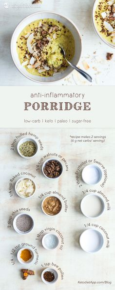 Anti-Inflammatory Keto Porridge. Low-carb, paleo, sugar-free & immune-boosting healthy breakfast meal!