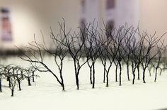 Wire trees on display at Stuckeman