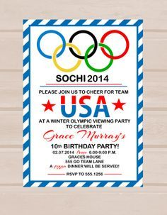Olympic Party Invitation By PartyPrintablesAust On Etsy Vbs - Olympic party invitation template