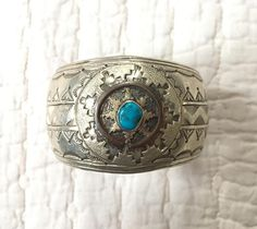 Gorgeous Vintage Sterling Silver and Turquoise Cuff SIGNED