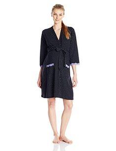 01922a025016a Belabumbum Womens Maternity Dottie Long Sleeve Maternity and Nursing Robe  Black Dot SmallMedium >>> BEST VALUE BUY on Amazon #MaternitySleepwear