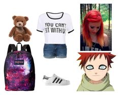 """""""Playing with Gaara as a kid"""" by harrypotter-gurl ❤ liked on Polyvore featuring Gund, LE3NO, adidas and JanSport"""