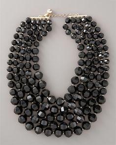 Kate Spade Black Bead Bib Necklace