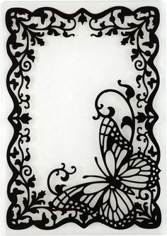 Butterfly Frame Embossing Folder by Hot Off The Press Inc - fancy frames - Paper Kirigami, 3d Zeichenstift, Paper Cutting, Stencils, Paper Art, Paper Crafts, Butterfly Frame, Butterfly Stencil, Wood Burning Patterns