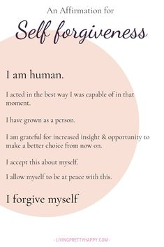 An affirmation for self forgiveness. A pivotal step in accepting yourself An affirmation for self forgiveness. A pivotal step in accepting yourself Affirmations Positives, Positive Affirmations Quotes, Self Love Affirmations, Affirmation Quotes, Positive Quotes, Positive Mindset, Positive Words Of Affirmation, Affirmations For Anxiety, Healing Affirmations