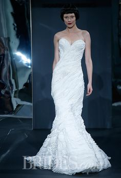 Brides.com: Mark Zunino for Kleinfeld - 2014. Style 72, bias layered chiffon mermaid wedding dress with beaded lace inserts, Mark Zunino for Kleinfeld