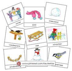 Activiteiten met woordkaarten bij het thema winter (tekeningen van Dagmar Stam)