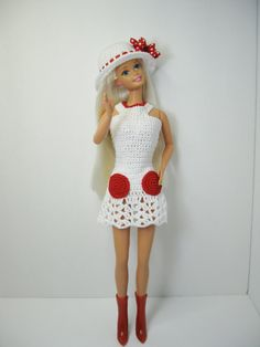 Custom Barbie Mod white crochet dress shoes and by ToneyTreasures