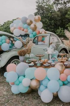 Take a look at this amazing beetle-themed birthday party! The balloon decorations are so impressive! See more party ideas and share yours at CatchMyParty.com #catchmyparty #partyideas #beetle #cars #boybirthdayparty #carsparty