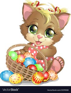 Beautiful easter kitten vector image on Happy Easter Wishes, Easter Paintings, Boyfriend Crafts, Cute Clipart, Easter Bunny Decorations, Easter Crafts For Kids, Valentine's Day Diy, Valentines Diy, Craft Stick Crafts
