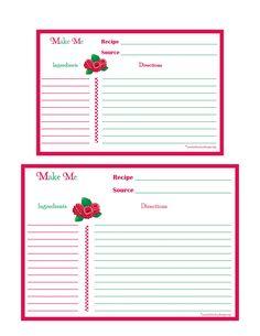 editable printable recipe card template pdf sheet recipe page