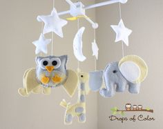 Baby Crib Mobile  Baby Mobile  Owl Giraffe and by dropsofcolorshop, $90.00