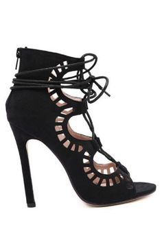 Heels I LOVE! Sexy Black Hollow Out Suede Stiletto Heel Sandals #Sexy #Black #Hollow_Out #Stiletto #Sandals #Footwear #Fashion