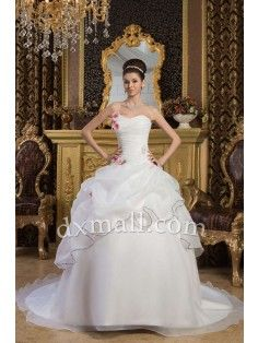 Ball Gown Wedding Dresses Sweetheart Chapel Train Satin-organza Satin Ivory 01001020052
