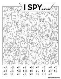 Free Printable Alphabet I Spy Game. Use this boredom buster activity on a rainy day or in the classroom to help kids learn their ABCs. - Free Printable Alphabet I Spy Game - Paper Trail Design Preschool Learning, Preschool Activities, Kids Printable Activities, Indoor Activities, Fun Worksheets For Kids, Family Activities, Kids Learning Alphabet, Teaching Abcs, Teaching Letters