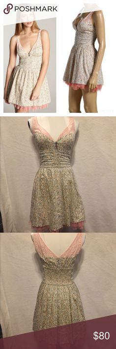 Free People Dazzling Ditsy Dress in Apricot Combo Free People Dazzling Ditsy Dress in Apricot Combo. Sleeveless floral dress with lace around the neckline and tulle at the hem. BRAND NEW WITH TAGS. Free People Dresses Mini