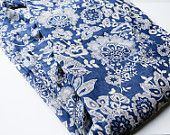 High End Lux Blue and Light Beige Floral Printed Cotton Voile by the Yard