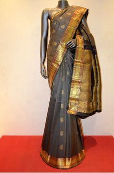 Grey Classic Hand Woven Traditional Kanjeevaram Silk Saree                       Product Code: AA206890                               #Silk #SilkSaree #Handloom #PureSilk #WeddingSaree #BridalSaree #Kanjivaram #Kancheepuram #Kanjeevaram #southindian