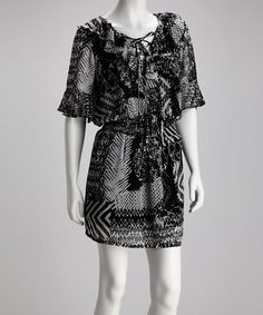 Take a look at this Black & White Angel-Sleeve Chiffon Dress by Madison Paige: Dresses on #zulily today! $21.99 until 3/30/12