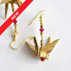 Gold Paper EarringsHandmade JewelleryOrigami JewelryOrigami Gift For GirlfriendCute Anniversary IdeasWedding Earrings