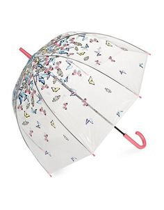 Shop Fulton Clear Printed Walking Umbrella-white from stores. Fulton, Walking, Butterfly, Bird, Cover, Prints, Rain, Accessories, Shop